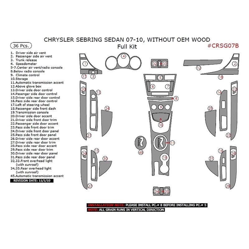 Remin Chrysler Sebring Limited Lx Touring 2008 Full Dash Kit