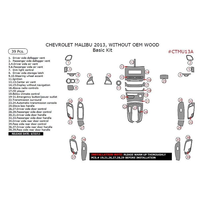 Chevy Malibu 2013 Basic Dash Kit