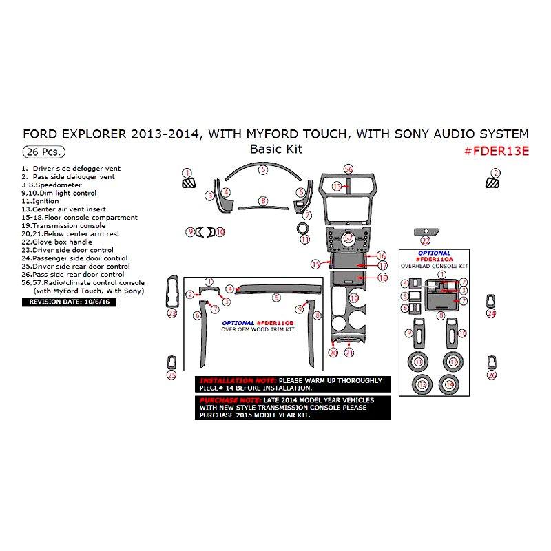 Remin ford explorer 2013 basic dash kit for 2013 ford explorer interior parts