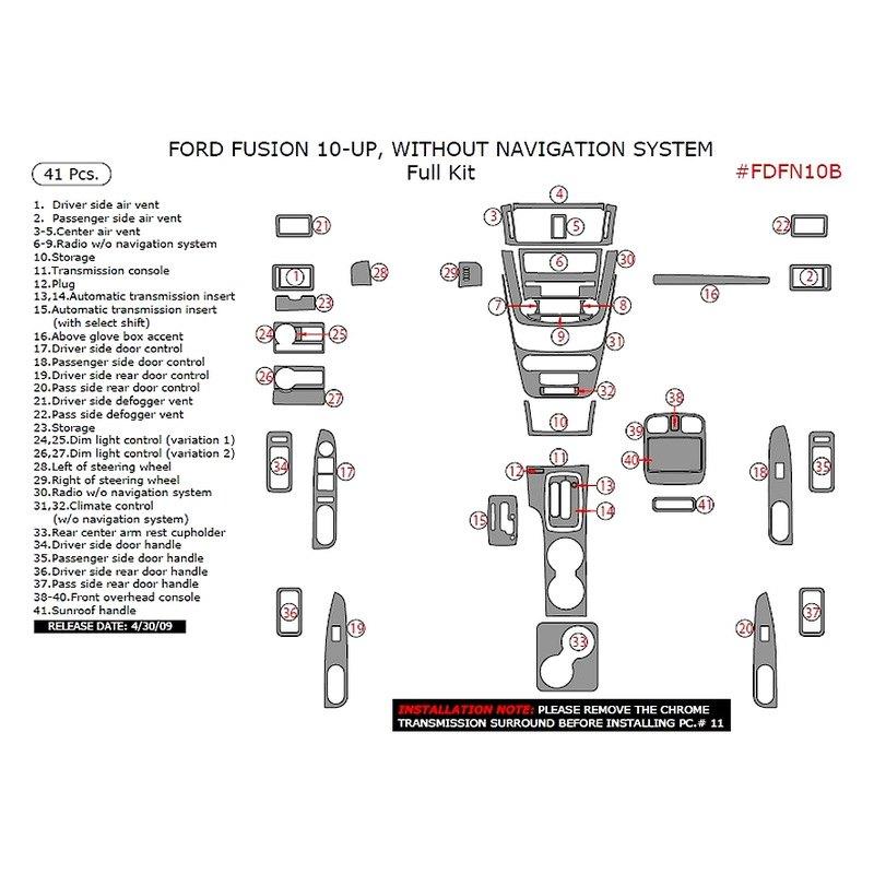 Ford Fusion 2010 Full Dash Kit