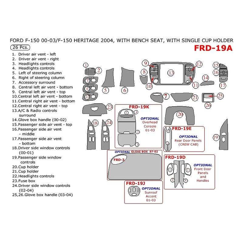 2000 Ford Ranger Super Cab Interior: Ford F-150 Regular Cab 2000 Main Dash Kit