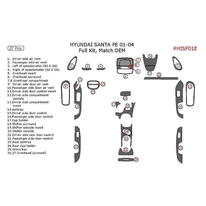 2003 Hyundai Santa Fe Interior: Hyundai Santa Fe 2003 Full Dash Kit