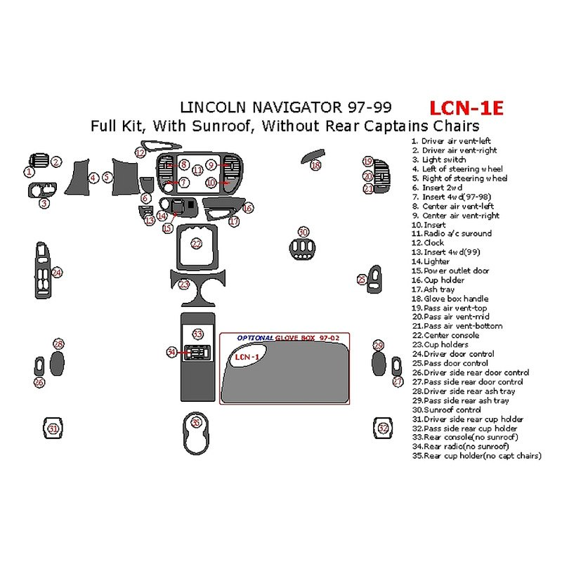 Remin Lincoln Navigator W O Capitan 39 S Chairs 1999 Factory Match Full Dash Kit
