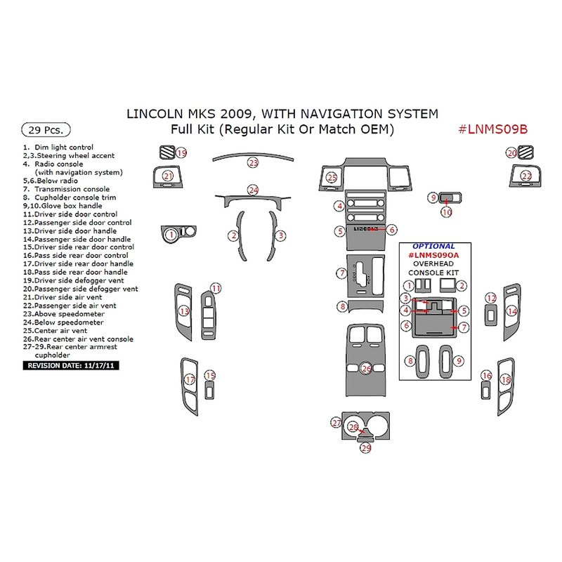 Lincoln Mks Parts: Lincoln MKS With Navigation System 2009 Full Dash Kit