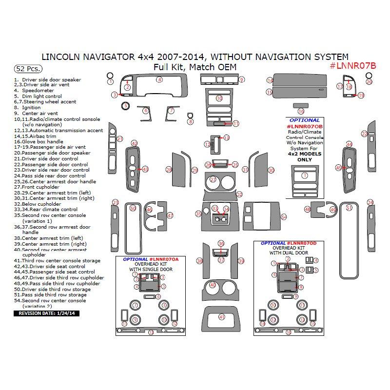 Remin Lincoln Navigator 4wd Awd 2008 Factory Match Full Dash Kit
