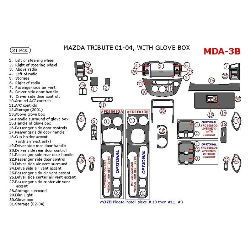 2001 Mazda Tribute Exterior: Mazda Tribute 2001 Main Dash Kit