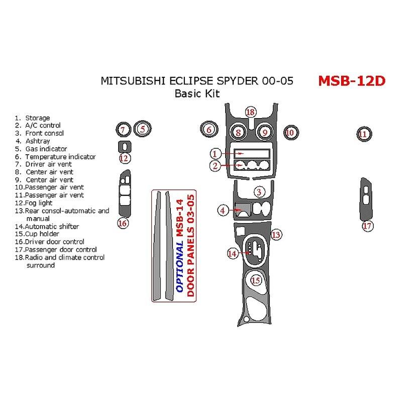 Remin Mitsubishi Eclipse Gs Gt Gts Rs 2003 Basic Dash Kit