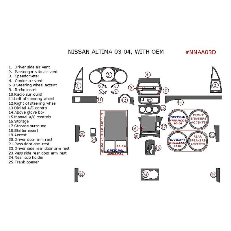 Remin Nissan Altima 2003 Full Dash Kit
