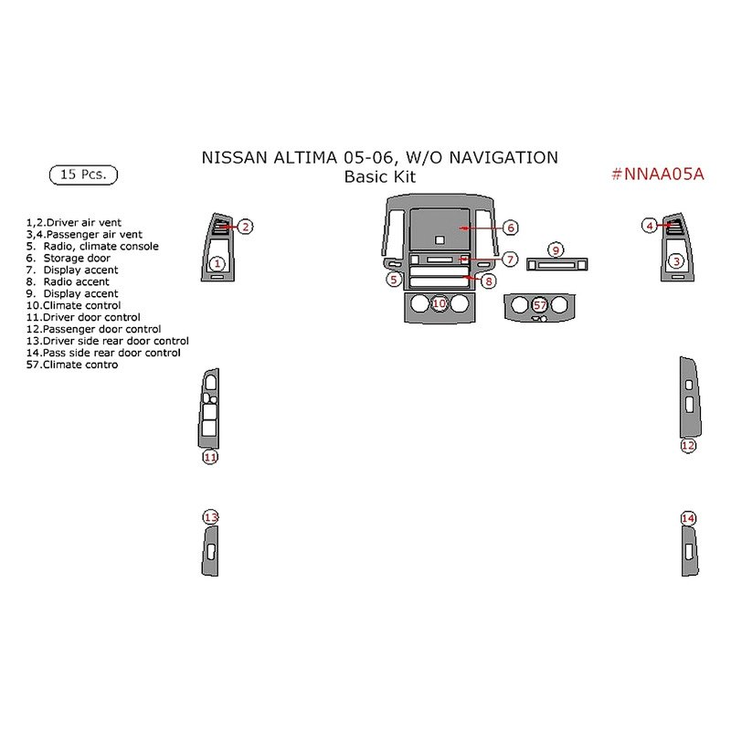 Remin Nissan Altima W O Navigation System 2005 2006 Basic Dash Kit