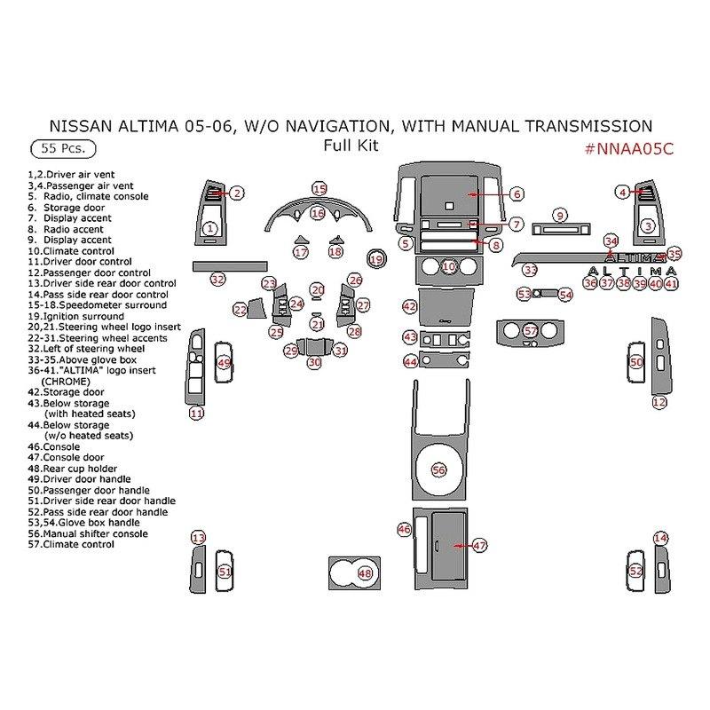 Remin Nissan Altima Wo Navigation System 2005 Full Dash Kit. Full Dash Kit 55. Nissan. 2005 Nissan Altima Dashboard Parts Diagram At Scoala.co