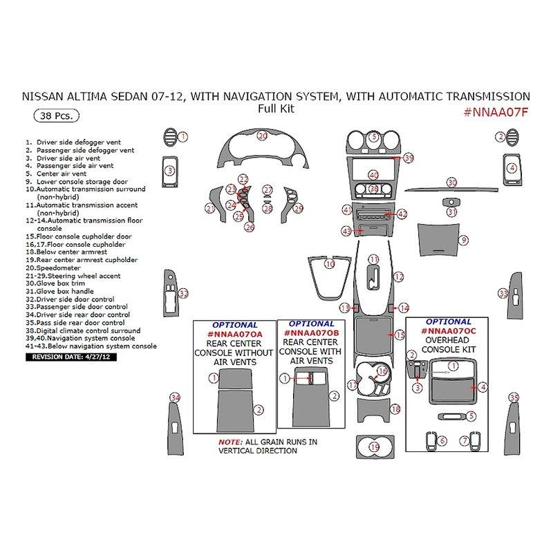 Remin Nissan Altima Automatic Transmission 2007 Full Dash Kit