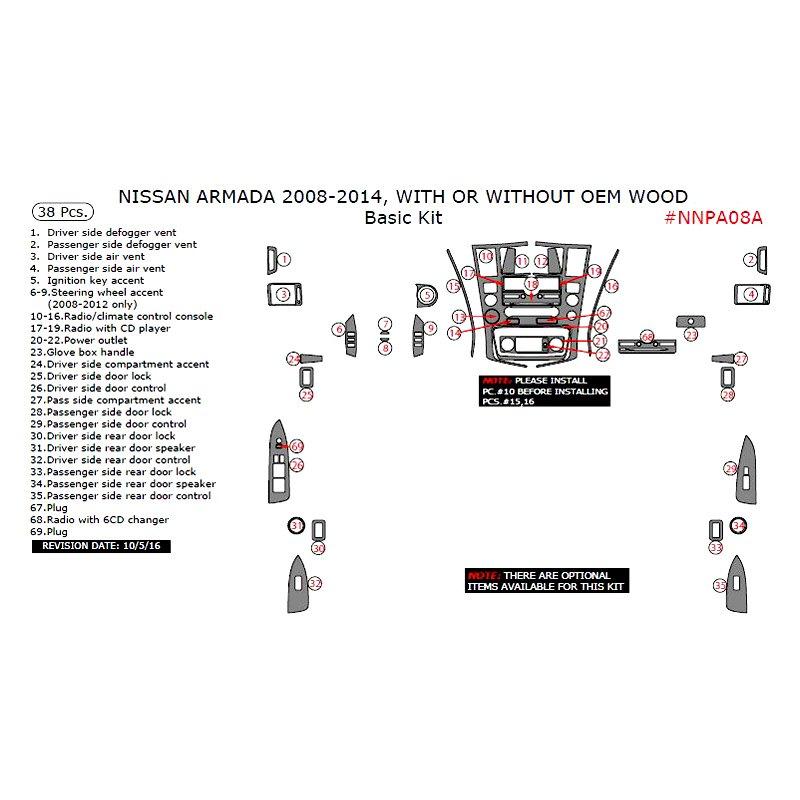 Remin Nissan Armada 2008 2010 Basic Dash Kit