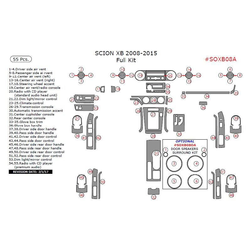 Mercedes Benz Air Grille Clip 0029885181 moreover Remin Dash Kit Full Kit 17496832 as well Inside Door Handle Actuator Cable Replacement 2008 Infiniti G35 besides Toyota Radiator Assembly 1640028661 as well 2013 Scion Tc Fuse Box. on scion xb lighting