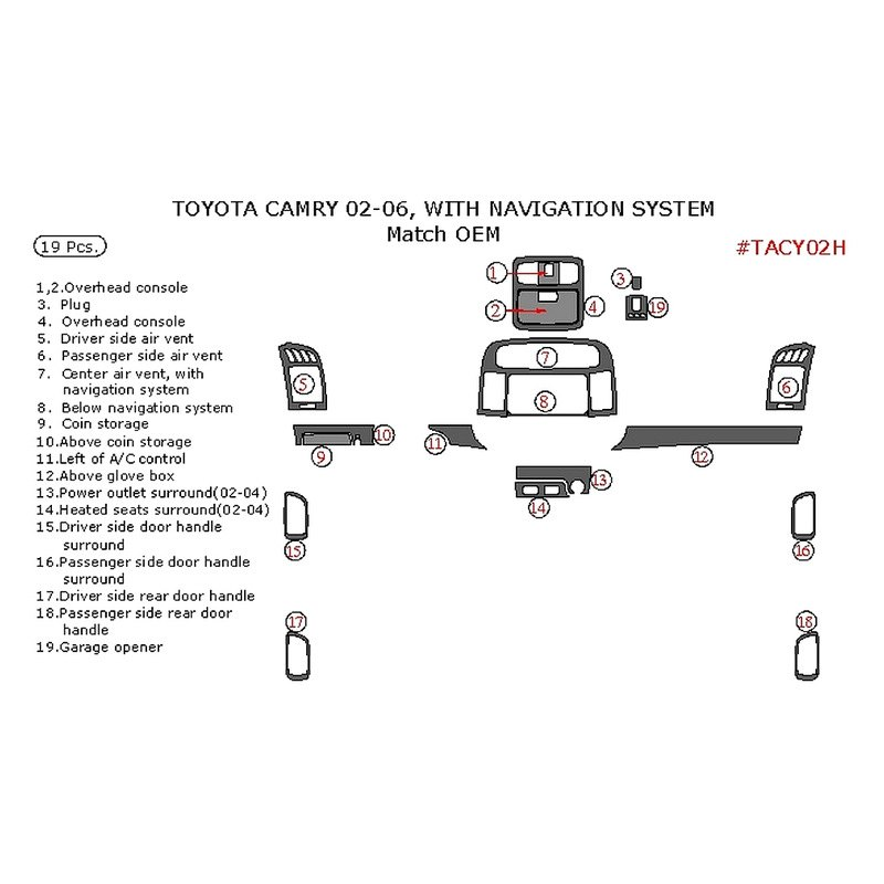 remin toyota camry 2006 factory match main dash kit. Black Bedroom Furniture Sets. Home Design Ideas