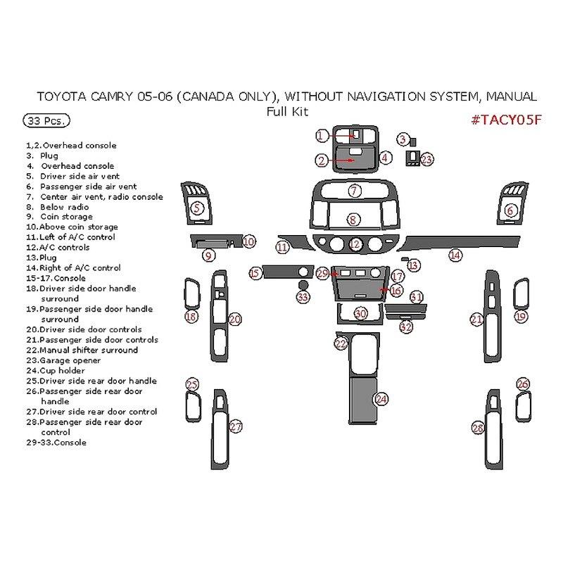 remin toyota camry 2006 full dash kit. Black Bedroom Furniture Sets. Home Design Ideas