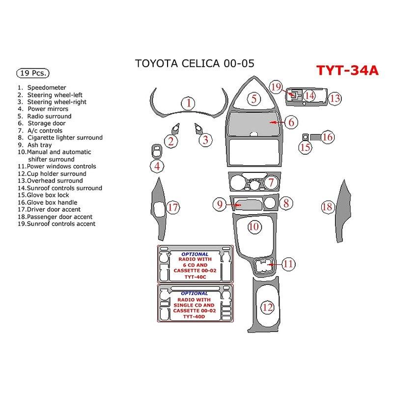 Remin Toyota Celica 2000 2002 Main Dash Kit