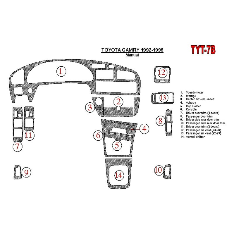 1992 Toyota Camry Transmission: Toyota Camry 1992 Main Dash Kit