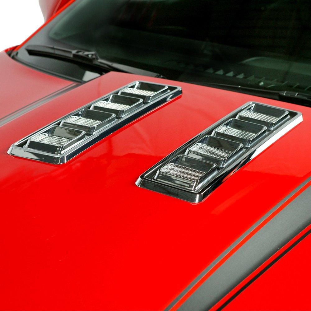 New 10 13 Chevy Camaro Hood Vent Set Retro Style Chrome Car Trim 2 Pcs 3m Tape