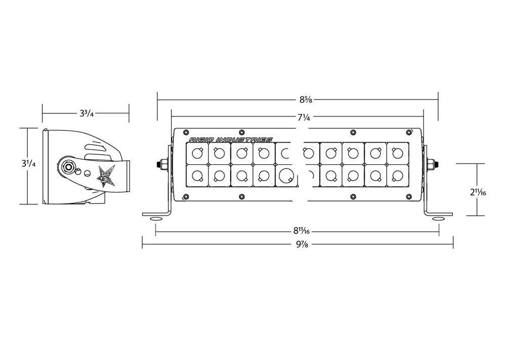 Rigid Industries 106322 E-Series Amber 6 Combo Spot//LED Flood Light Bar