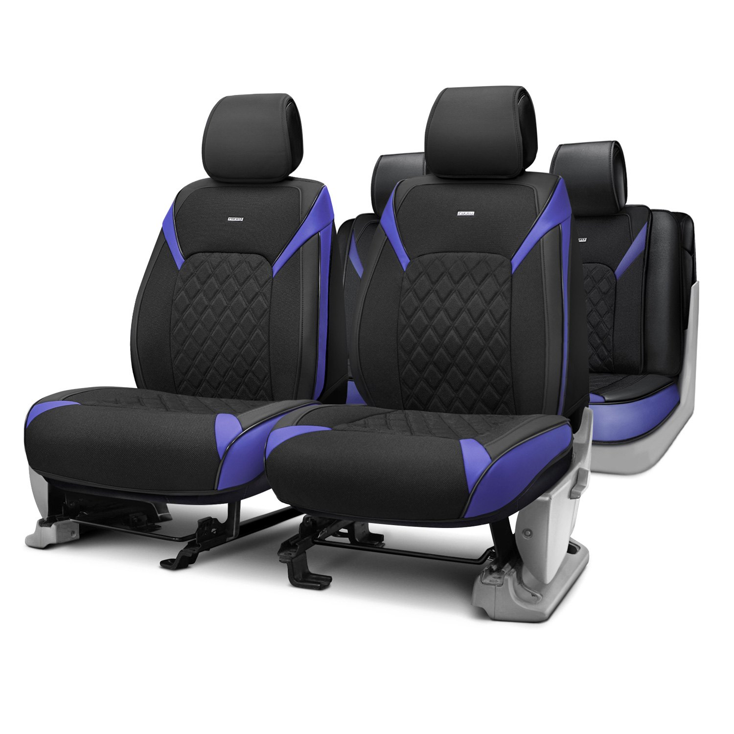 Rixxu™   Forza Series Black Seat Covers With Blue Accents