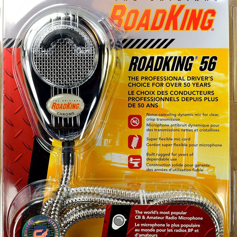 RoadKing® RK56CHSS - 4-Pin Chrome Dynamic Noise Canceling CB Microphone  with Chrome Cord