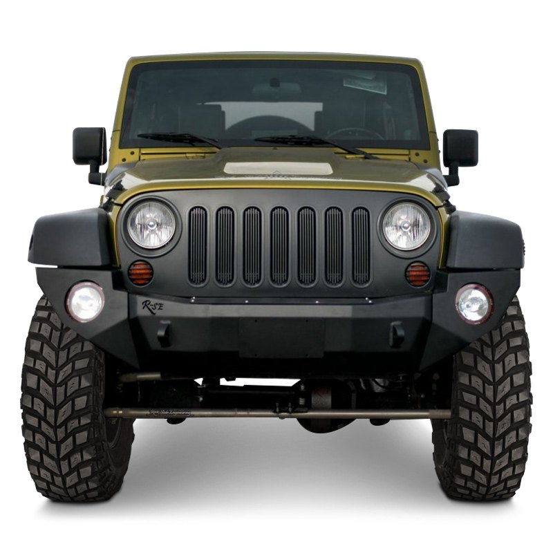 rock slide engineering jeep wrangler 2007 2016 rigid series full width black front hd bumper. Black Bedroom Furniture Sets. Home Design Ideas