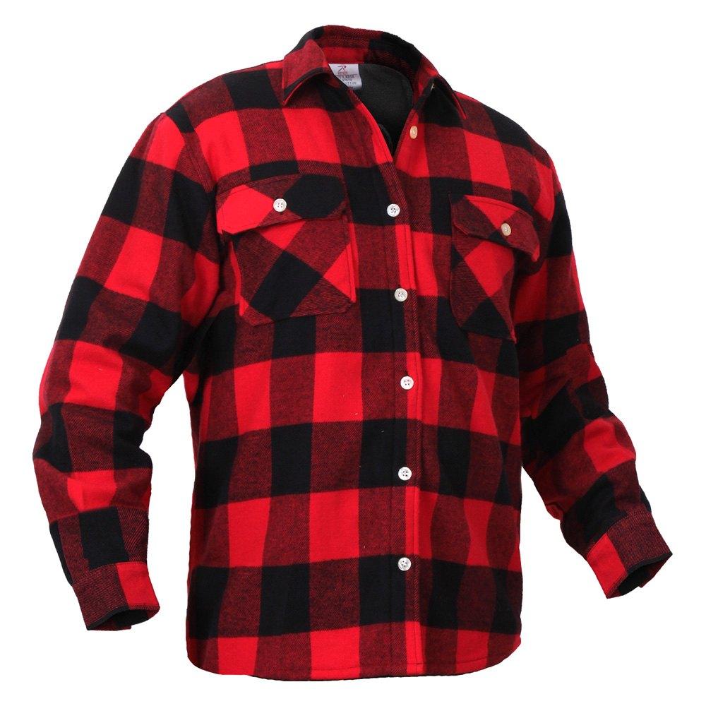 Rothco 2739 l red black buffalo check fleece lined for Buffalo check flannel shirt