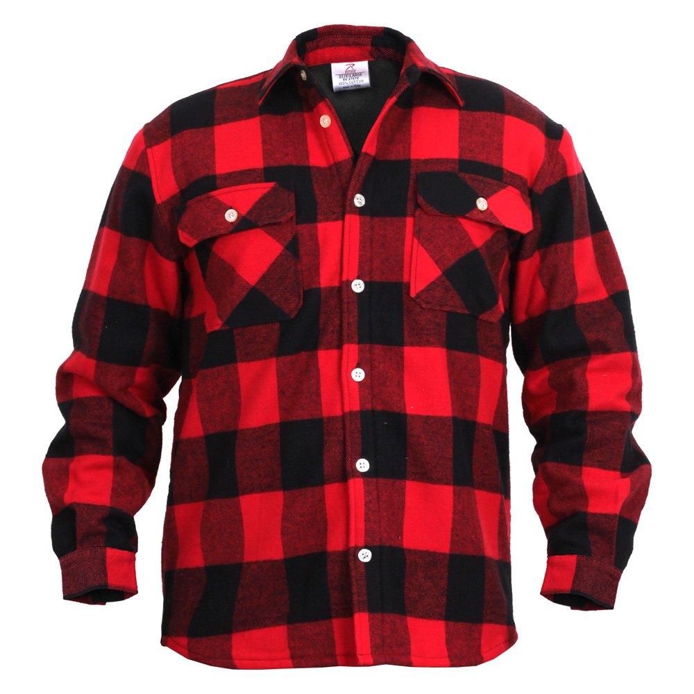 rothco 2740 red black buffalo check fleece lined flannel shirt xxl. Black Bedroom Furniture Sets. Home Design Ideas