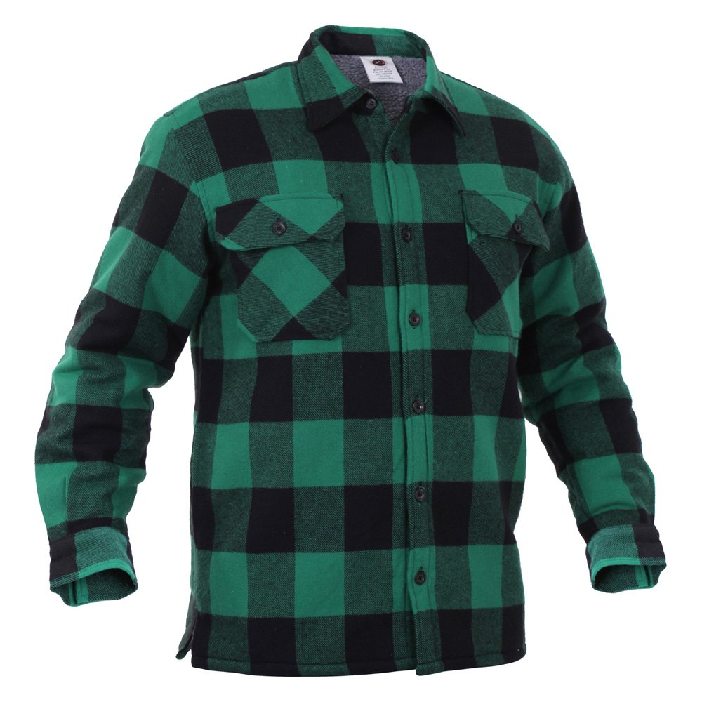 Rothco 3736 green extra heavyweight buffalo plaid for Sherpa lined flannel shirt