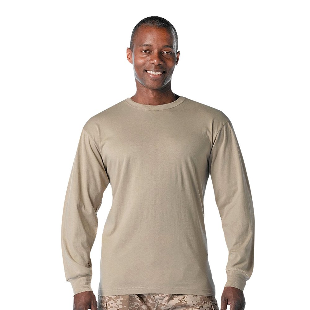 Rothco 8598 tan long sleeve solid cotton t shirt xxl for Xxl long sleeve t shirts