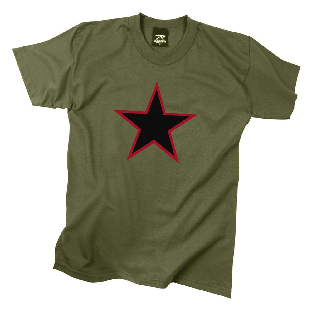 Rothcor 60303 m olive drab red china star t shirt m for T shirt sprüche m nner