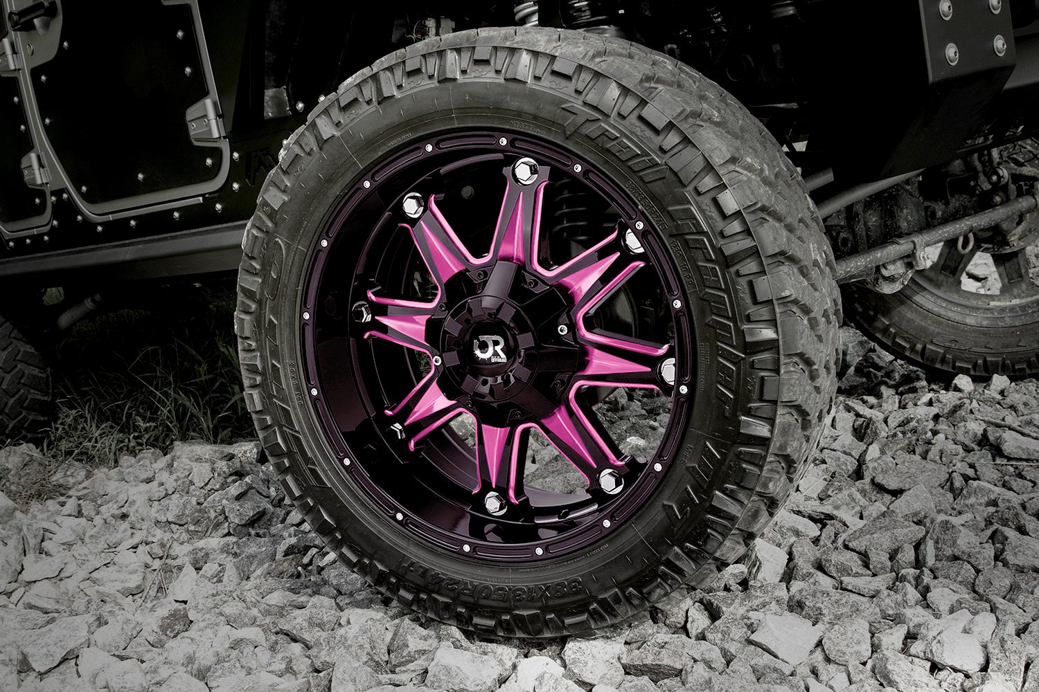 2018 Jeep Wrangler Interior >> RTX® SPINE Wheels - Gloss Black with Pink Accents Rims