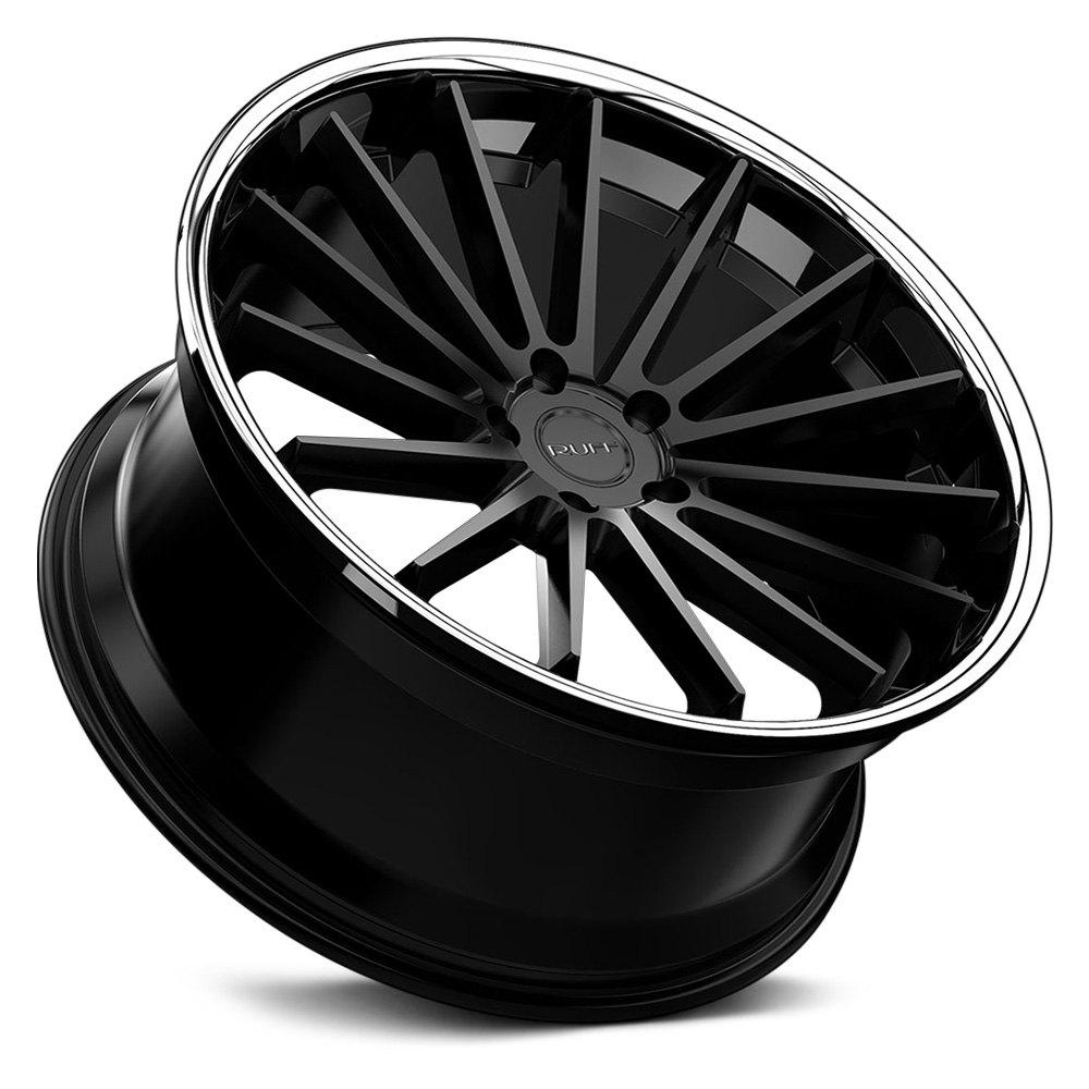 RUFF RACING® R3 Wheels - Satin Black with Chrome Lip Rims