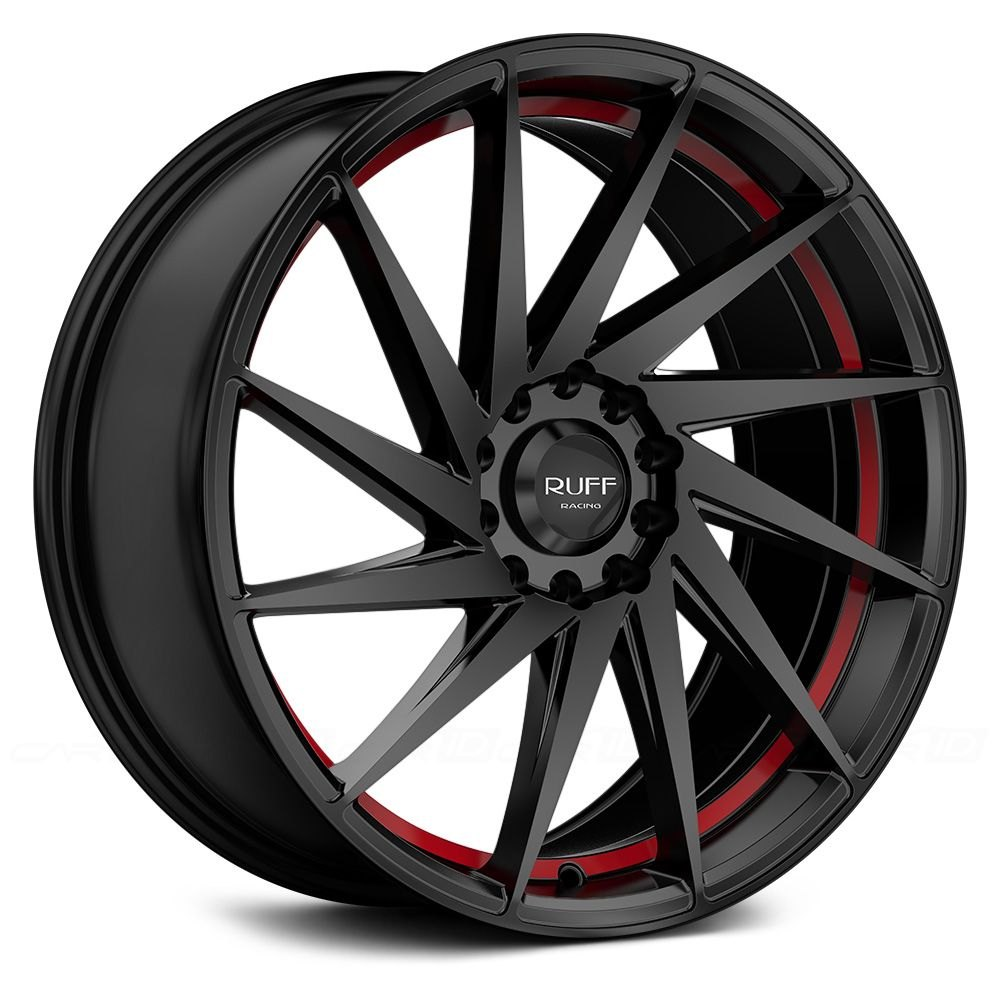 Ruff Racing 174 R363 Wheels Satin Black With Red Undercut Rims