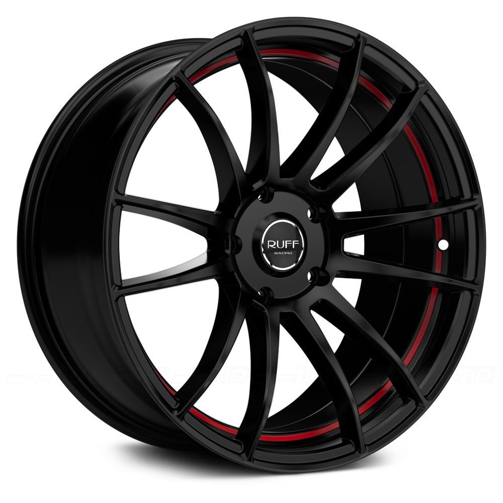 Ruff Racing 174 R959 Wheels Gloss Black With Red Undercut Rims