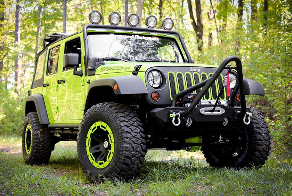 Wranglerrugged Ridge Xhd Satin Black With Green Rim Protector On Jeep