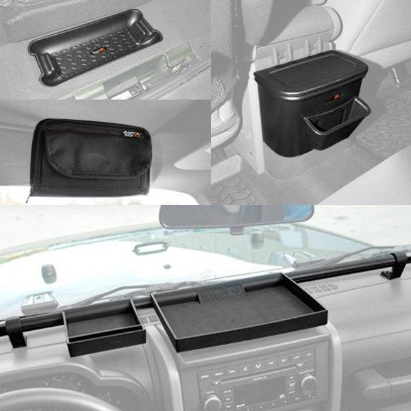 Rugged ridge jeep wrangler 2010 interior storage accessories for Jeep wrangler interior accessories