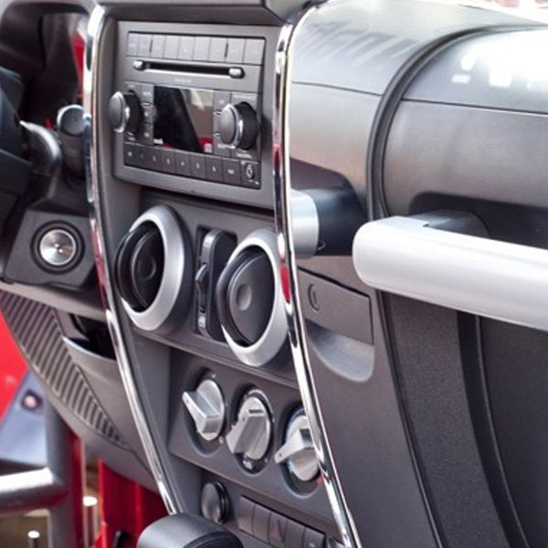 Rugged ridge jeep wrangler 2007 center dash accent for Jeep wrangler interior accessories