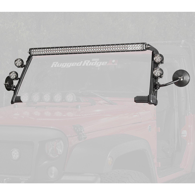 Rugged Ridge Jeep Wrangler 2007 Windshield Frame Mounted Elite Tj Lights Wiring Fast Track 216w Combo Beam Led Light Kit With