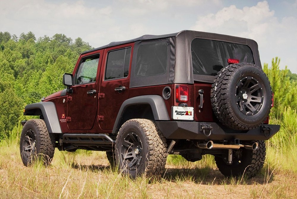 rugged ridge jeep wrangler jk 2018 xhd full width black rear hd bumper. Black Bedroom Furniture Sets. Home Design Ideas