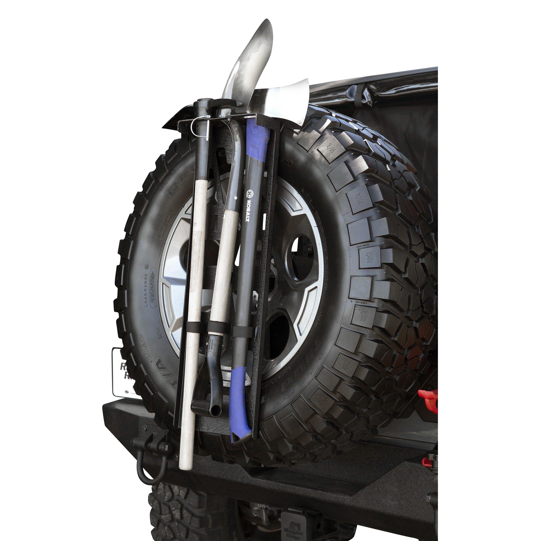 rugged ridge  black powder coated spare tire tool rack system
