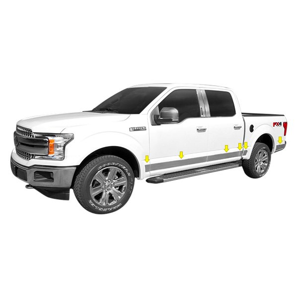 Saa ford f 150 2018 u type polished rocker panel covers for Ford f 150 exterior accessories