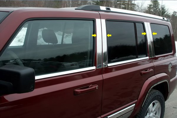 saa jeep commander 2006 2010 polished pillar posts. Cars Review. Best American Auto & Cars Review