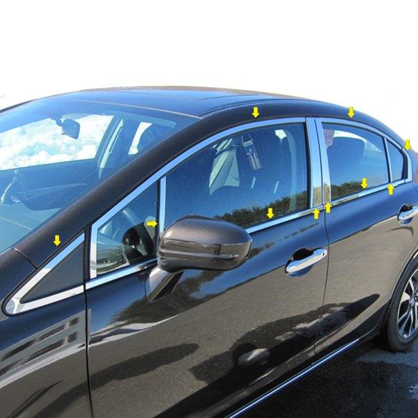 Saa honda civic sedan 2012 2015 polished window trim for 2001 honda civic window trim