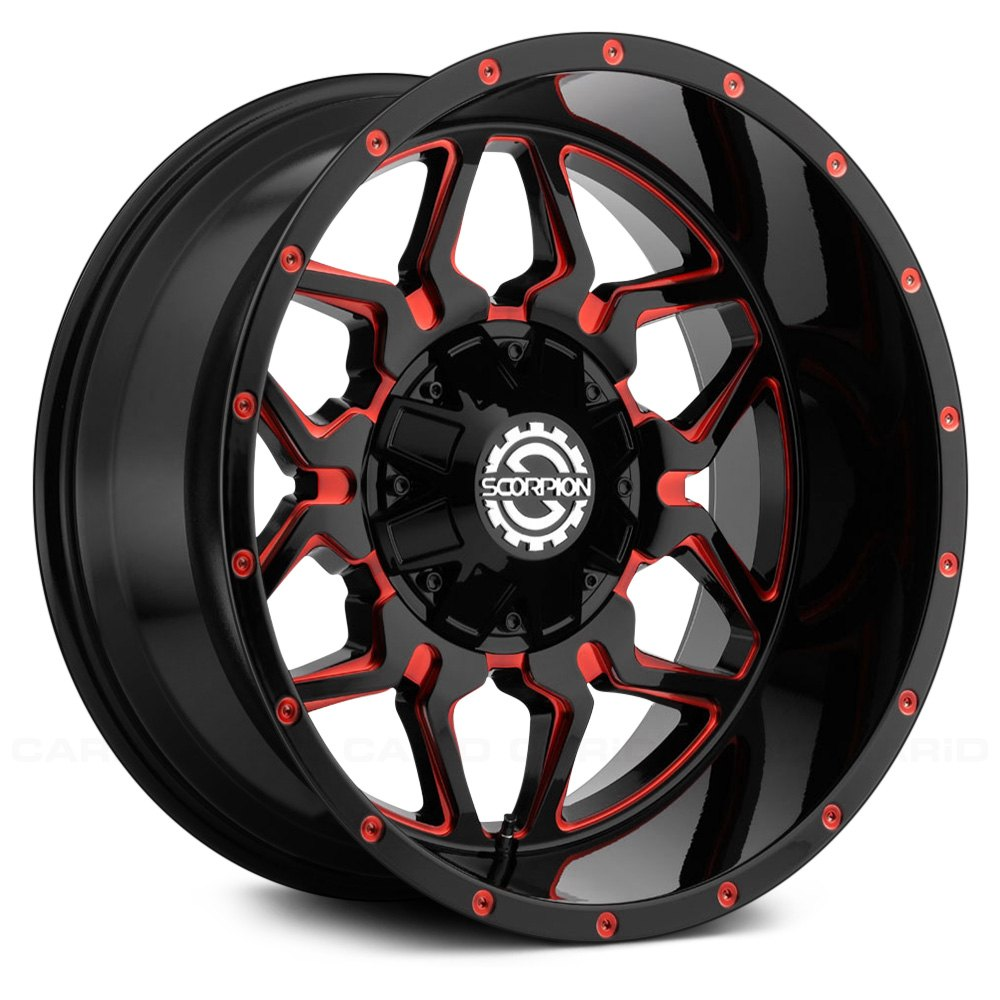 scorpion sc16 wheels black with red milled accents rims. Black Bedroom Furniture Sets. Home Design Ideas