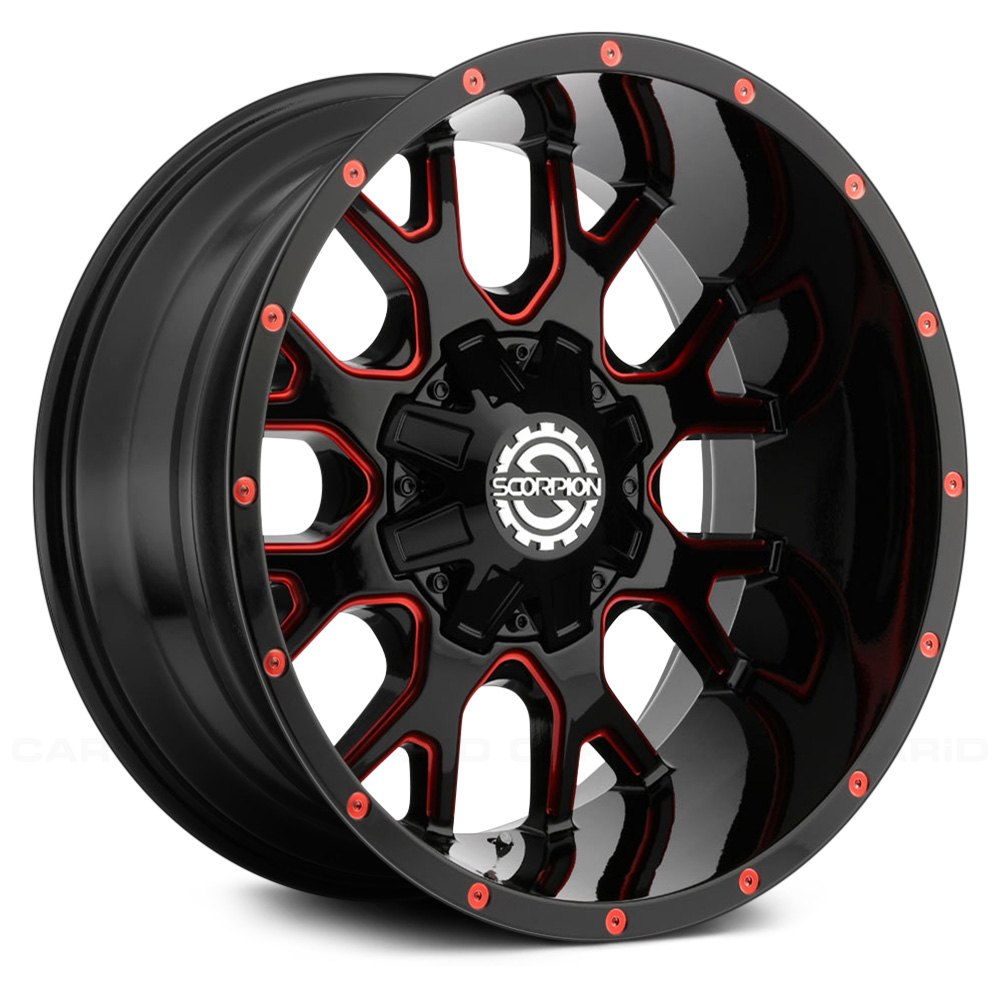scorpion sc19 wheels black with red milled accents rims. Black Bedroom Furniture Sets. Home Design Ideas