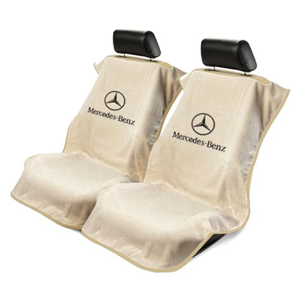 Seat armour sa100mbzt tan towel seat cover w mercedes logo for Seat covers mercedes benz