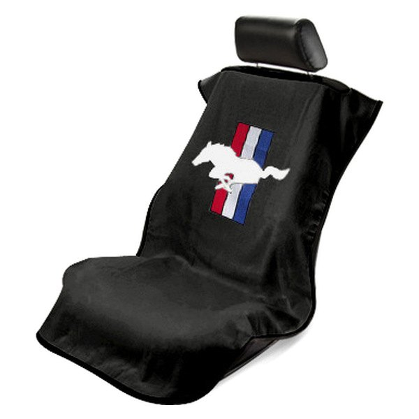 Seat Armour Black Towel Seat Cover With Mustang Pony Logo
