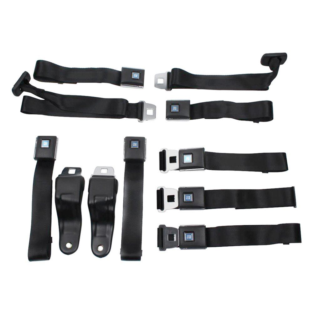 Seatbelt Solutions® 6769KIT5002 - 3-Point Front Retractable Seat Belts with  Non-Retract Shoulders and 2-Point Rear Lap Belts, Military Green