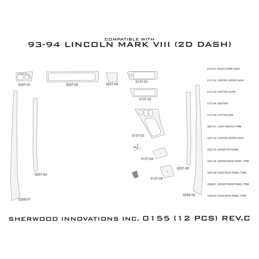 Sherwood lincoln mark viii 1994 2d standard dash kit - Lincoln mark viii interior parts ...